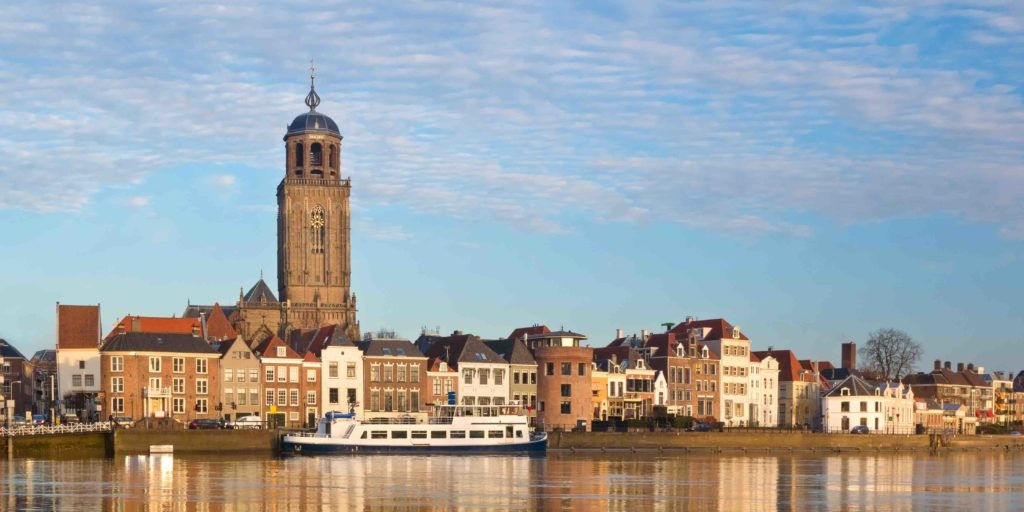 Panoramic view of the medieval Dutch city Deventer